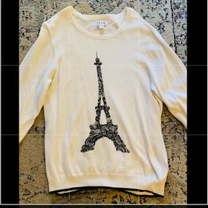 Elle ivory Eiffel Tower sweater in XL